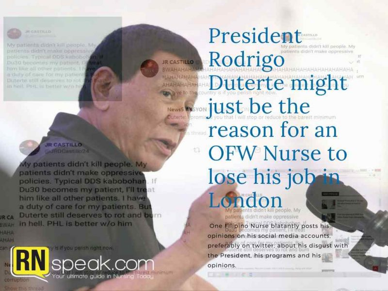 ofw nurse lose job london president rodrigo duterte